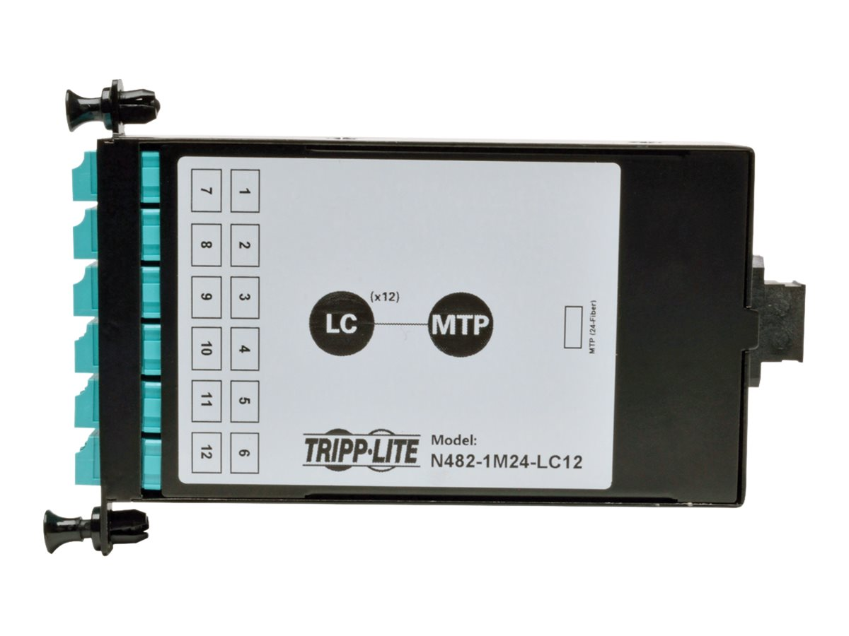 Tripp Lite 24-Fiber Patch Panel MTP MPO to x12 LC 10Gb Breakout Cassette, N482-1M24-LC12