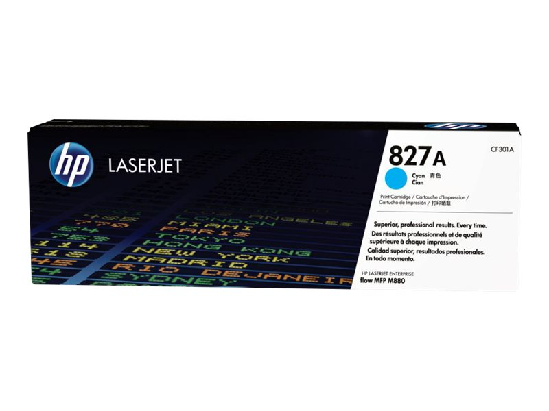 HP 827A (CF301A) Cyan Original LaserJet Toner Cartridge, CF301A, 16431518, Toner and Imaging Components