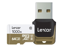 Lexar 64GB Professional UHS-II 1000x microSDXC Memory Card with USB Reader, Class 10, LSDMI64GCBNL1000R, 30610900, Memory - Flash