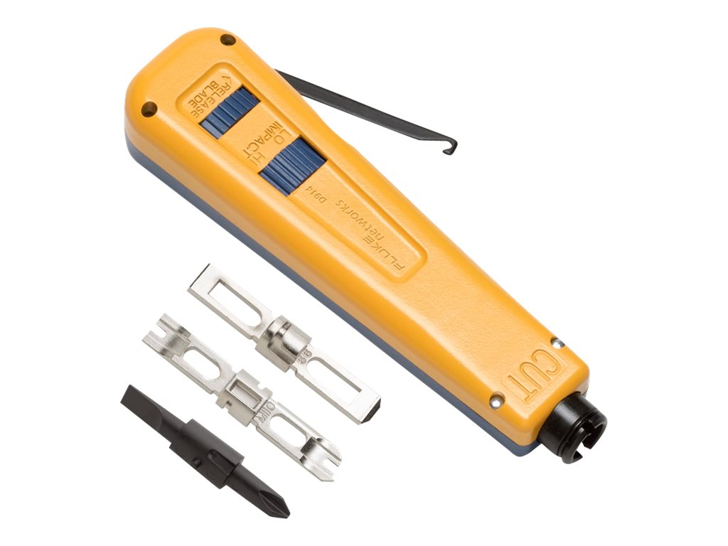Fluke D914 Punchdown Impact Tool with EverSharp 110, EverSharp 66 Blade and Screwdriver Blade