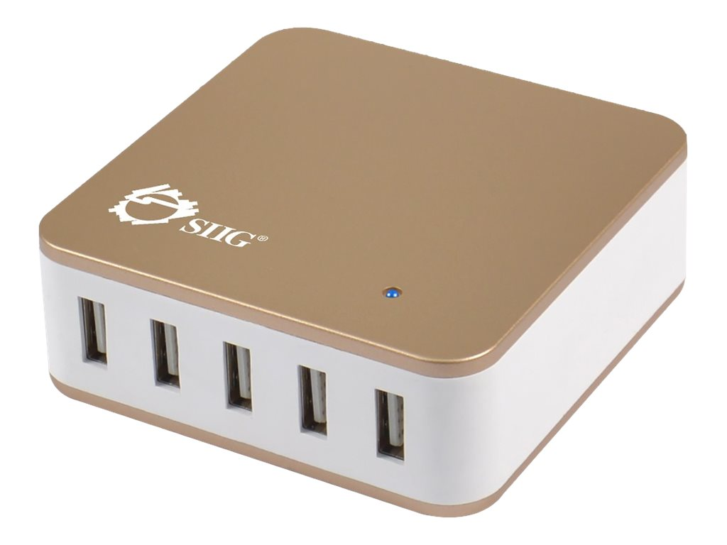 Siig 5-Port 40W USB Smart Desktop Charger, AC-PW0T14-N1