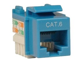 Tripp Lite Cat6 Cat5e RJ-45 110 Punch Down Keystone Jack, Blue, N238-001-BL, 8713380, Premise Wiring Equipment