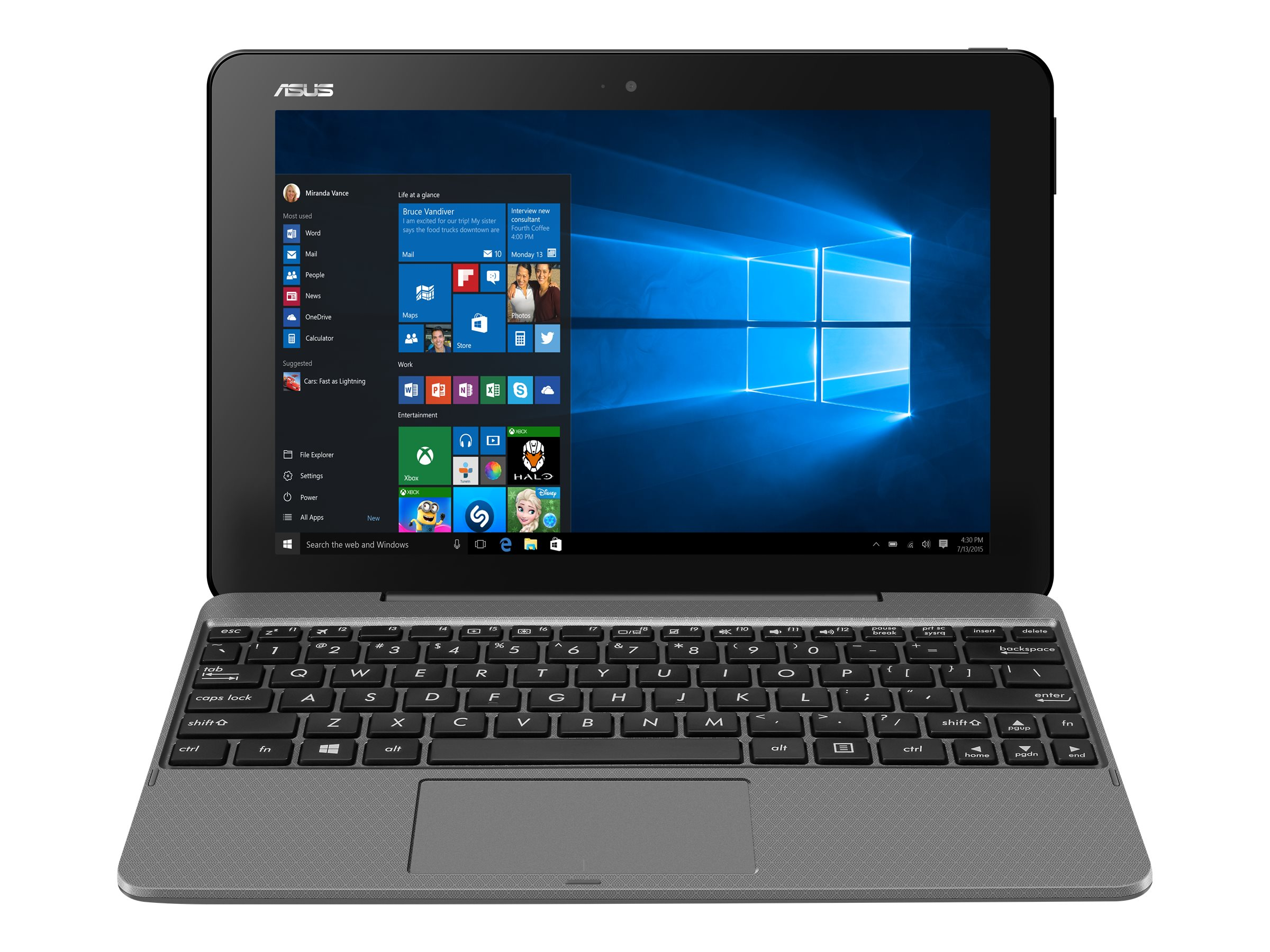 Asus Transformer book T101HA-C4 Atom x5-Z8500 1.44GHz 4GB 64GB abgn BT 2xWC 10.1 WXGA MT W10H64 Gray, T101HA-C4-GR