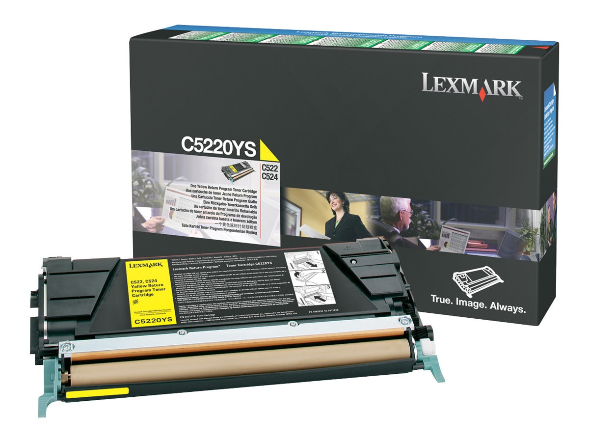 Lexmark Yellow Return Program Toner Cartridge for C522n & C524 Series Printers, C5220YS