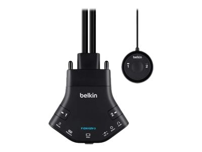 Belkin Secure 2-Port VGA Single-Link KVM w  Audio and Remote Controller, F1DN102V-3