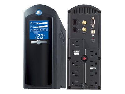 CyberPower 1350VA 810W UPS AVR (8) Outlets RJ-11 RJ-45 Coax Tower LCD Display, CP1350AVRLCD, 7546014, Battery Backup/UPS