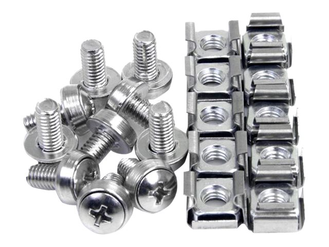 StarTech.com M6 Mounting Screws and Cage Nuts for Server Rack Cabinet (50 Pack), CABSCREWM6
