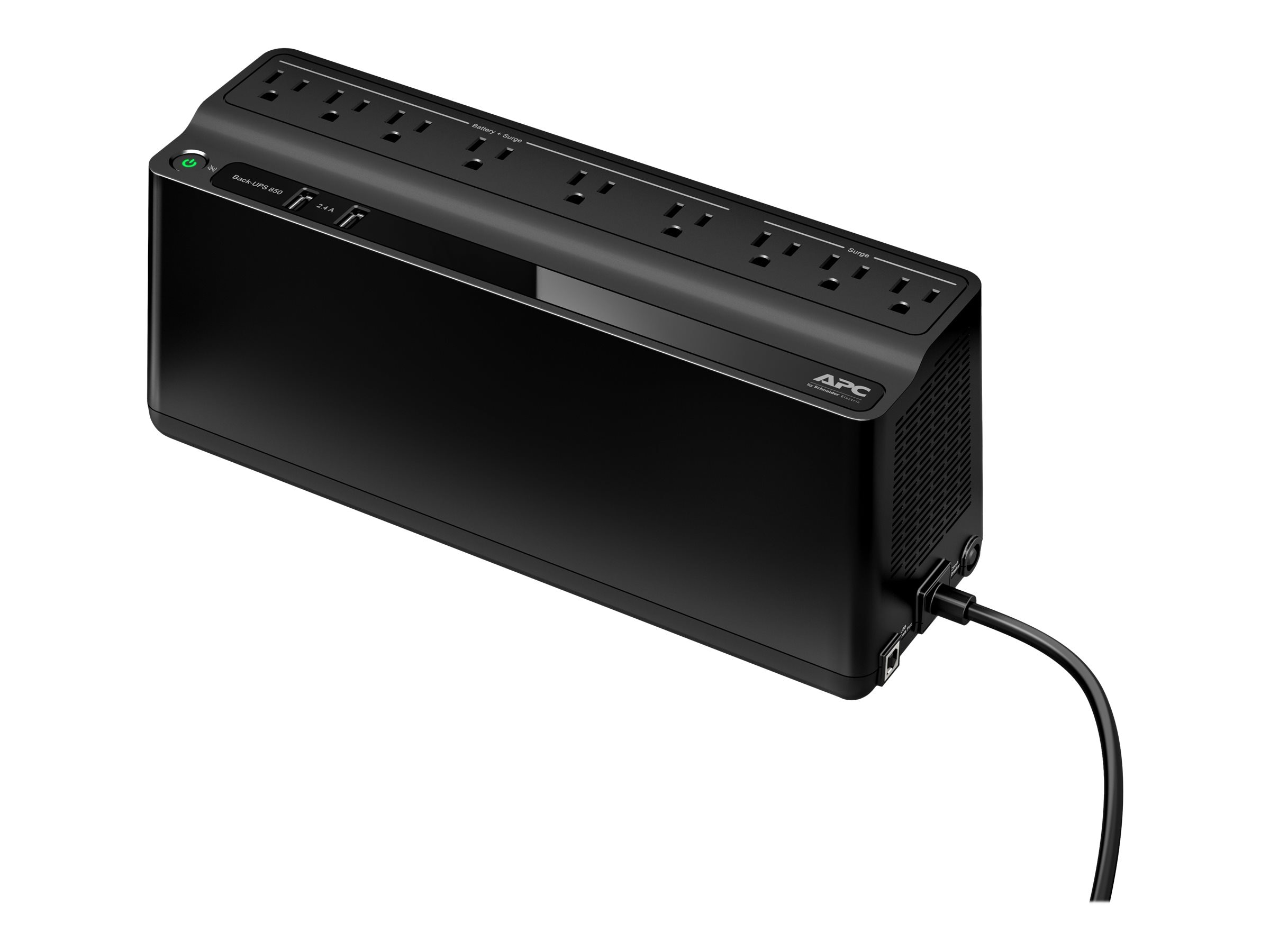 APC Back-UPS 850VA 450W 120V Standby 5-15P Input 5ft Rt-Angle Plug (9) 5-15R Outlets (2) USB Charging, BE850M2