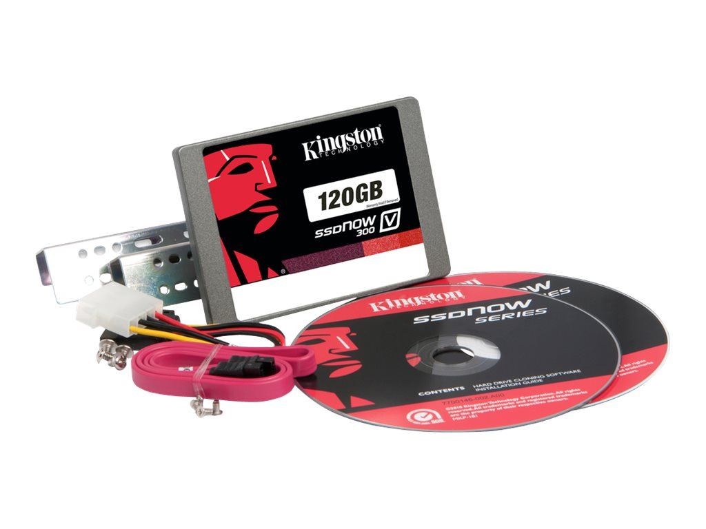 Kingston 120GB SSDNow V300 SATA 6Gb s 2.5 Internal Solid State Drive Desktop Bundle Kit, SV300S3D7/120G, 15025286, Solid State Drives - Internal