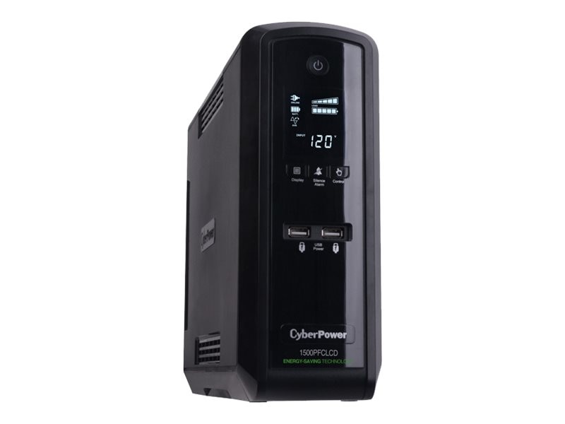 CyberPower 1500VA UPS Line-Interactive 120V Sinewave LCD AVR Active PFC (10) Outlets TAA Compliant, CP1500PFCLCDTAA, 14531048, Battery Backup/UPS