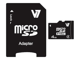 V7 4GB microSDHC Class 4 Card with SD Adapter, VAMSDH4GCL4R-1N, 13165285, Memory - Flash