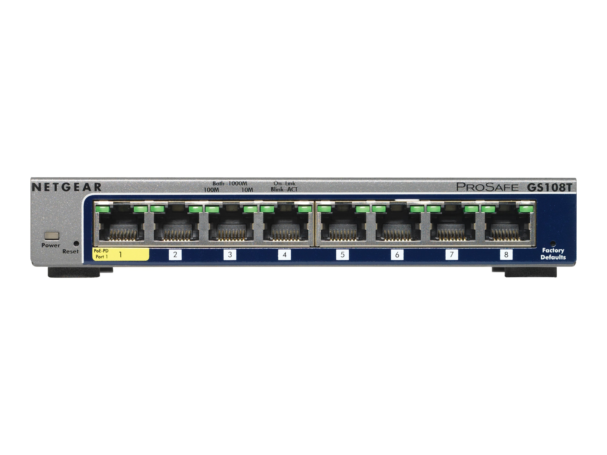 Netgear 8-Port 10 100 1000Mbps Switch, GS108T-200NAS