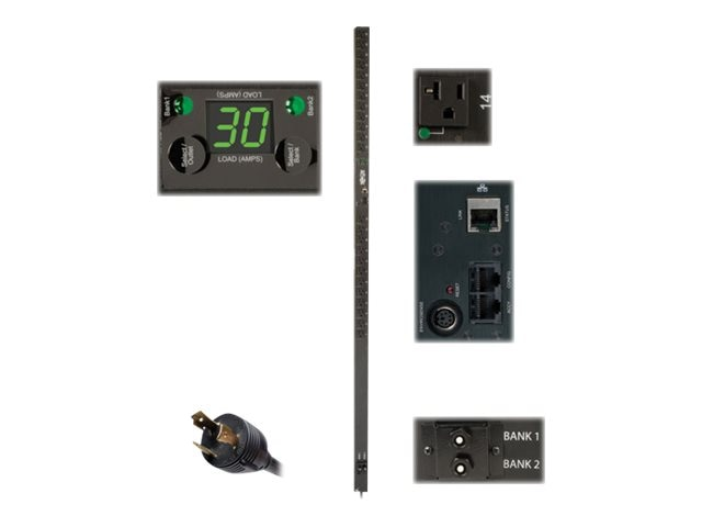 Tripp Lite Switched PDU 120V, 1-ph 30A 0U RM, L5-30P Input, NEMA 5-15 20R Outlets, PDUMVR30NET, 15513693, Power Distribution Units