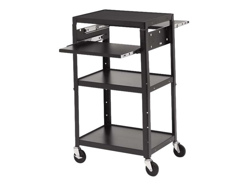 Bretford Manufacturing Adjustable AC Cabinet Cart with 2 Pullout Shelves, 5in Wheels, Powered, A2642DNS-E5, 12737341, Computer Carts