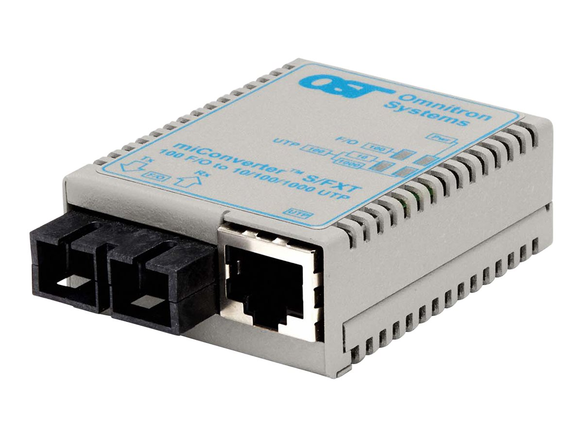 Omnitron MiConverter S FXT 10 100BTX RJ45 100BFX SC MM 1310NM 5KM US AC, 1602-0-1, 13225137, Network Transceivers