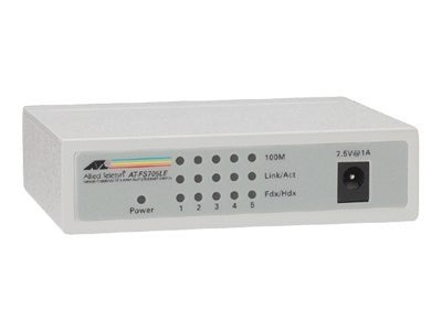 Allied Telesis 5 Port Compact 10 100 Unmanaged Switch, AT-FS705LE-10, 118356, Network Switches