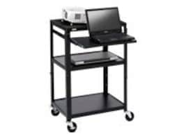 Bretford Manufacturing Adjustable AV Cart with Pull-Out Notebook Shelf, Black, A2642NSE, 9098884, Computer Carts