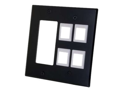 C2G Decora Compatible Cutout with Four Keystone Double Gang Wall Plate - Black