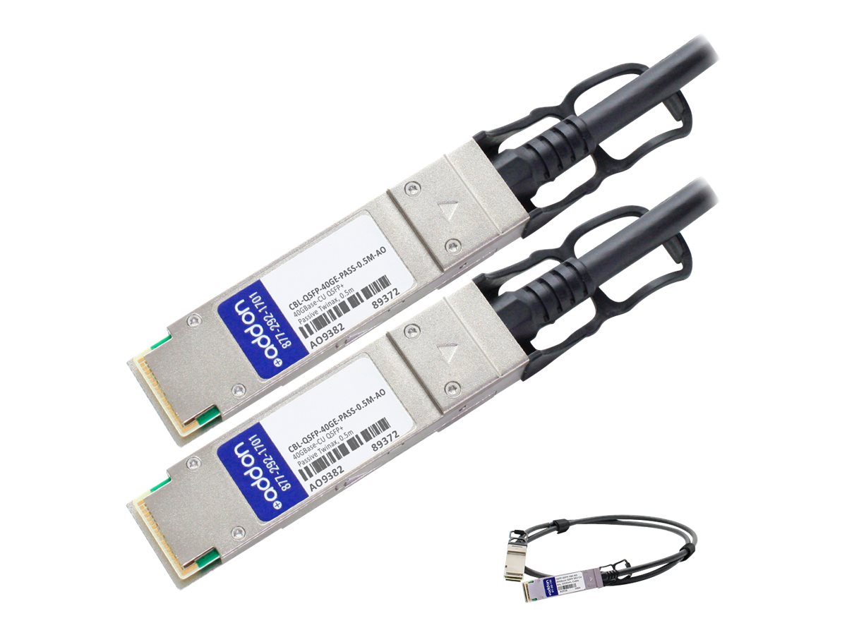 ACP-EP 40GBase-CU QSFP+ to QSFP+ Direct Attach Passive Twinax Cable, 0.5m, CBL-QSFP-40GE-PASS-0.5M-AO