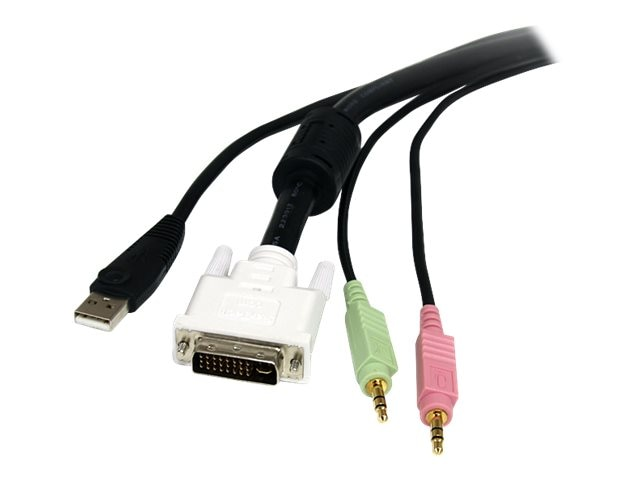 StarTech.com 4-in-1 USB, DVI, Audio, and Microphone KVM Switch Cable 10ft, USBDVI4N1A10, 6201102, Cables