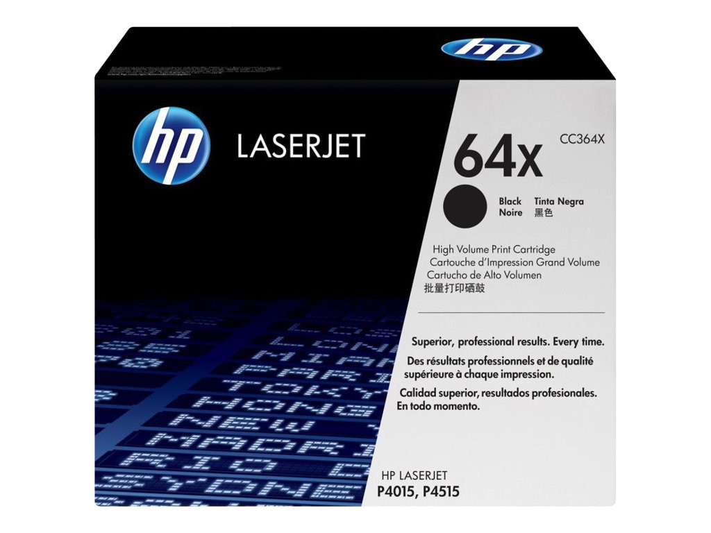 HP 64X (CC364X) High Yield Black Original LaserJet Toner Cartridge for HP  LaserJet P4015 & P4515, CC364X, 8484652, Toner and Imaging Components