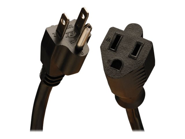Tripp Lite AC Power Extension Cord NEMA 5-15R to NEMA 5-15P 120V 13A 16 3 SJT Black 1ft, P024-001-13A, 16275922, Power Cords