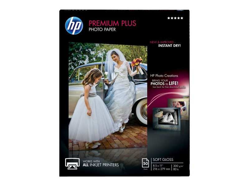 HP 8.5 x 11 Premium Plus Soft-gloss Photo Paper (50 Sheets)