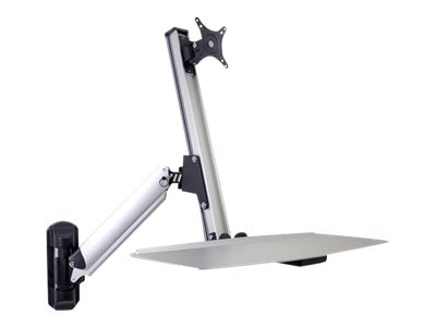 DoubleSight Sit-Stand Workstation with Lift Arm, Keyboard Tray, Single Wall Mount