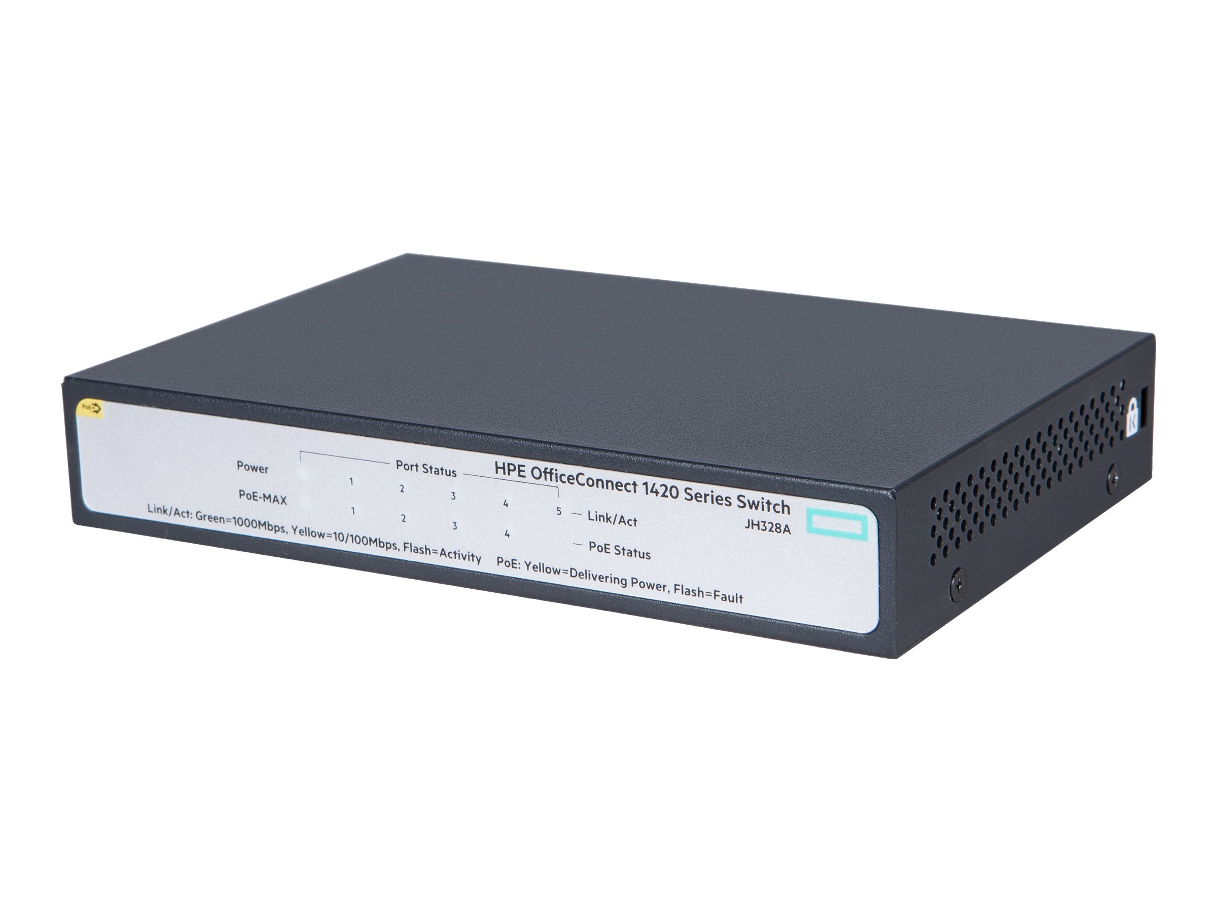 HPE OfficeConnect 1420 5-Port GE PoE+ (32W) Unmanaged Switch