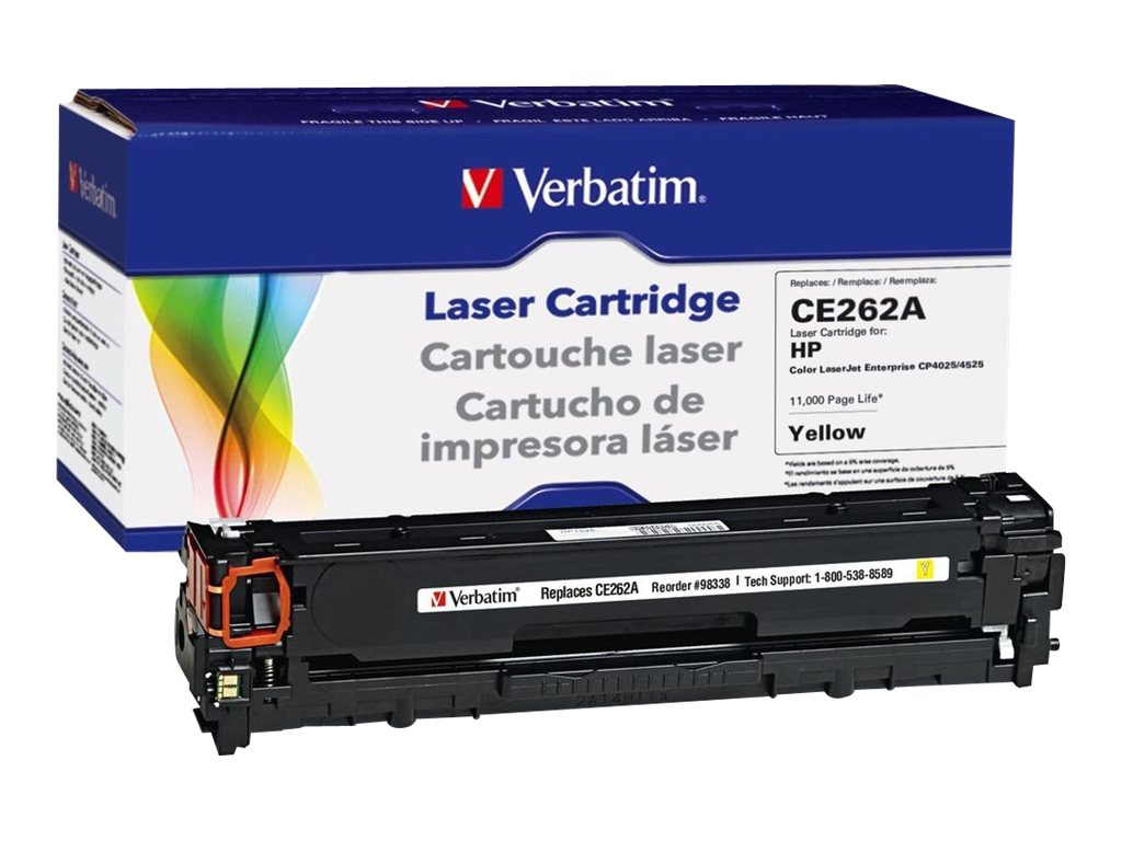 Verbatim CE262A Yellow Toner Cartridge for HP LaserJet CP4025 & CP4525, 98338, 16248086, Toner and Imaging Components