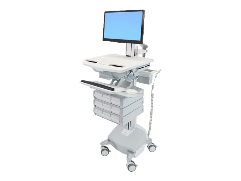 Ergotron StyleView Cart with LCD Pivot, LiFe Powered, 9 Drawers, SV44-1392-1, 18024721, Computer Carts - Medical