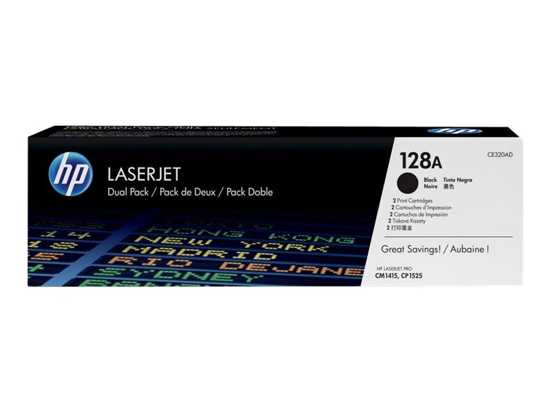 HP 128A (CE320AD) 2-pack Black Original LaserJet Toner Cartridges for HP LaserJet CM1415 & CP1525