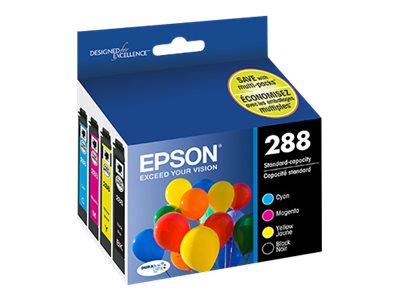 Epson 288 Ink Cartridges doe XP430 (4-pack Cyan, Magenta Yellow & Black), T288120-BCS