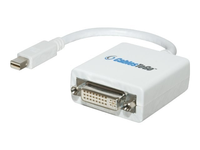 C2G Mac-Compatible Mini DisplayPort (M) to DVI (F) Adapter Cable, 8.5in, 54162, 10446989, Cables