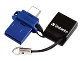 Verbatim 64GB Store 'n' Go Dual USB Flash Drive for USB-C Devices, Blue, 99155, 34183853, PC Card/Flash Memory Readers