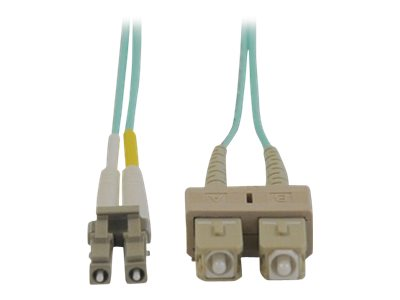 Tripp Lite Fiber LSZH Patch Cable, LC-SC, 50 125, 10Gb, Multimode, Duplex, Aqua, 5m