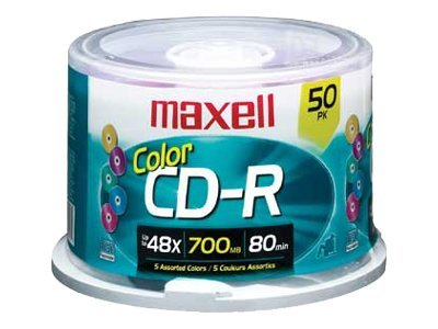 Maxell 48X  700MB (80 Minute) Color CD-R Media (50 Disc Spindle), 648251, 451253, CD Media