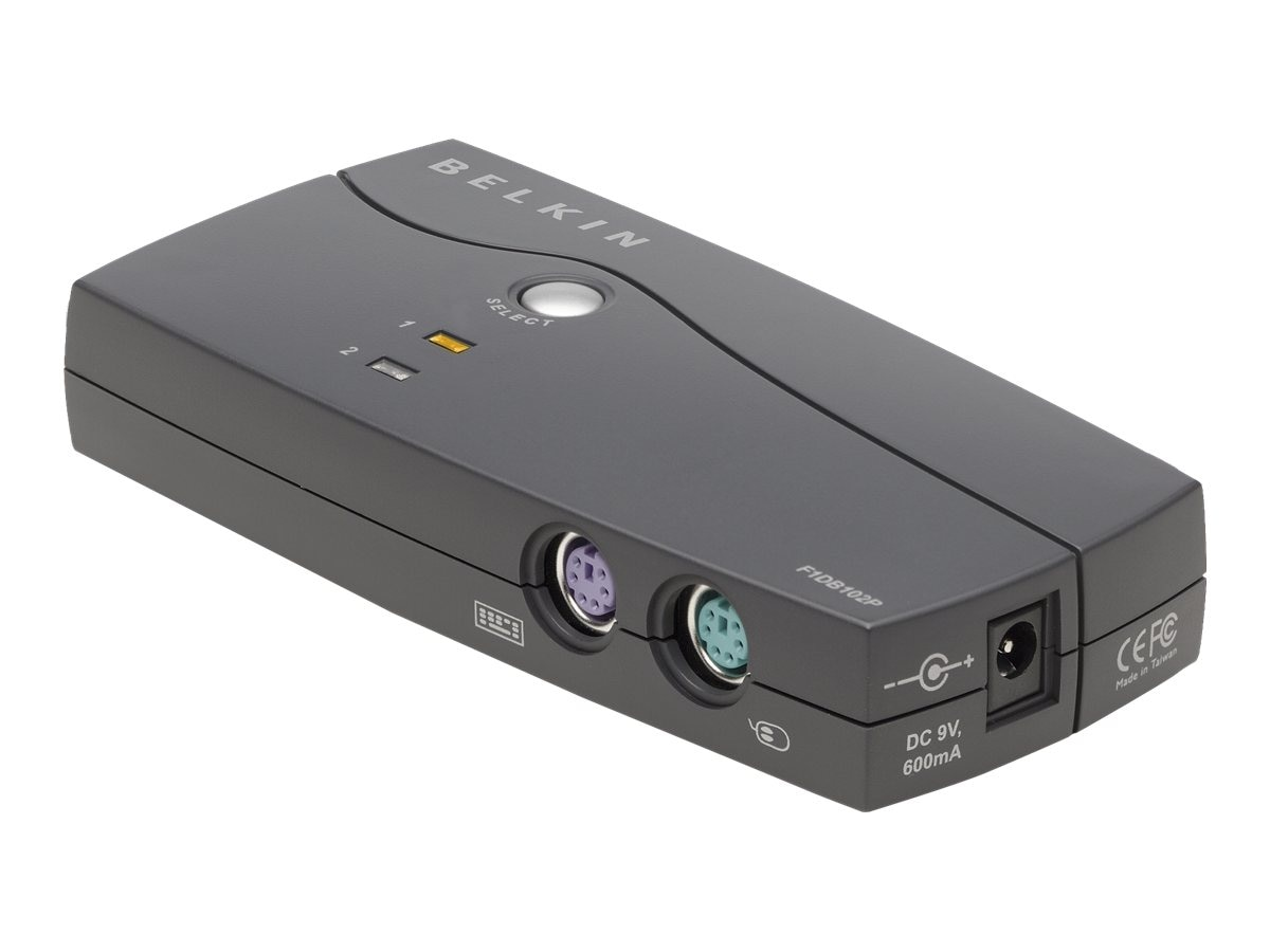 Belkin 2-Port PS 2 E-Series KVM Switch with (2) FREE F1D9001-B06 KVM Cables, F1DB102P2-B