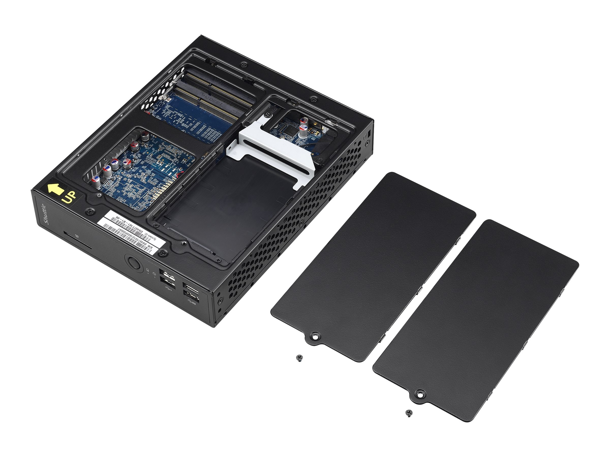 Shuttle Barebones, Desktop USFF Slim Celeron DC 1037U 1.8GHz Max.8GB DDR3 1x2.5 Bay 65W Fanless NoOS, Black