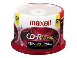 Maxell CD-R 80 Music Media (50-pack), 625156, 9706624, CD Media