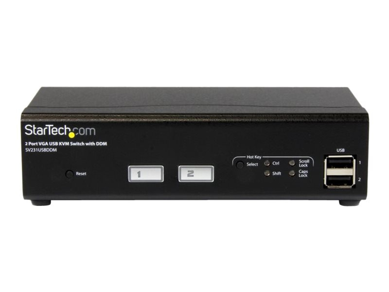 StarTech.com 2-Port USB VGA KVM Switch with DDM Fast Switching Technology and Cables, SV231USBDDM