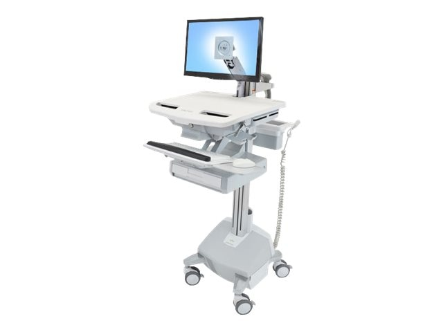 Ergotron StyleView Cart with LCD Arm, LiFe Powered, 1 Drawer, SV44-1212-1