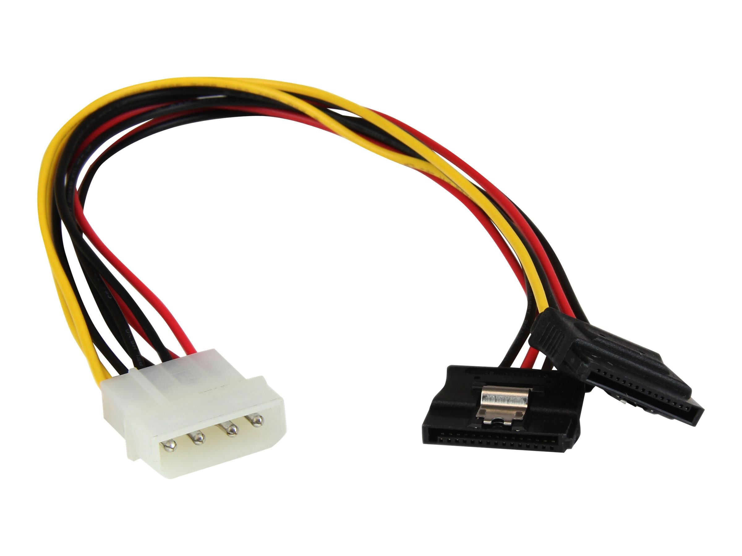 StarTech.com LP4 to 2x Latching SATA Power Y Cable Splitter Adapter, 4 Pin Molex to Dual SATA, 12in