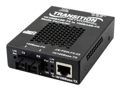 Transition 10 100BT to 100BF Converter RJ45 to 1310TX 1550RX SM SC 20KM, J/E-PSW-FX-03100-NA, 11581656, Network Transceivers