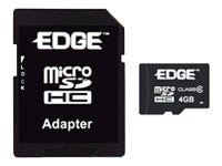 Edge 4GB microSDHC Flash Card with SDHC Full-size Adapter, PE216634, 8635861, Memory - Flash