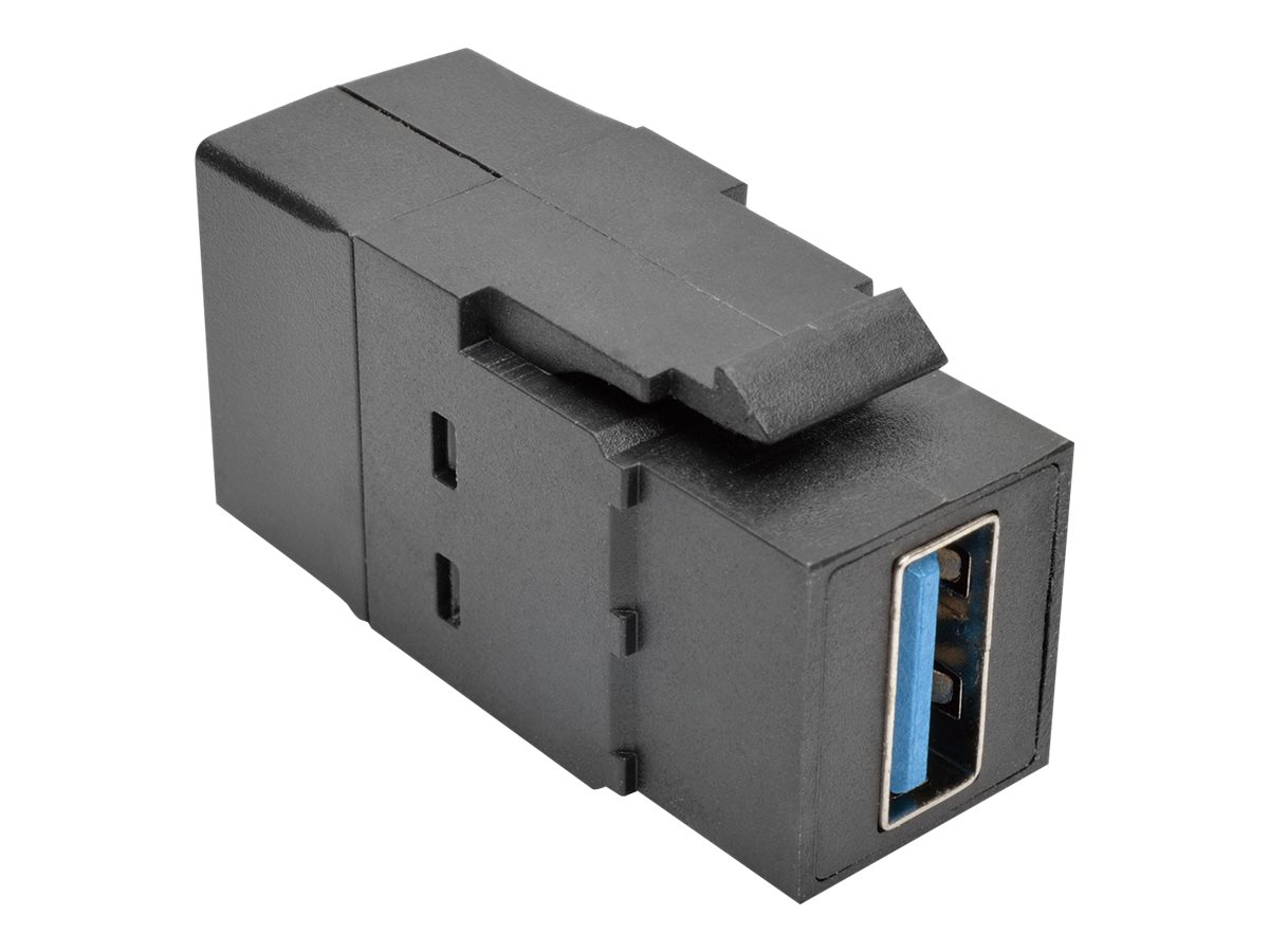 Tripp Lite USB 3.0 F F All-in-One Keystone Panel Mount Coupler, Black, U325-000-KP-BK