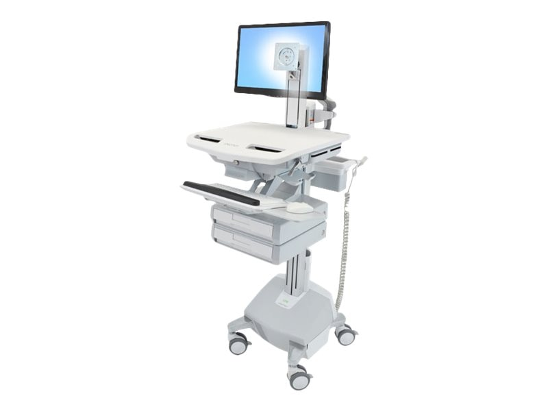Ergotron StyleView Cart with LCD Pivot, LiFe Powered, 2 Drawers, SV44-1322-1, 18024668, Computer Carts - Medical