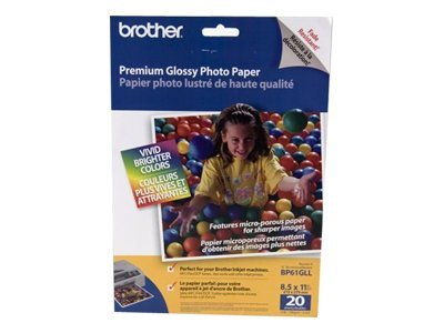 Brother 8.5 x 11 Innobella Premium Glossy Photo Paper (20 Sheets), BP61GLL, 6954497, Paper, Labels & Other Print Media