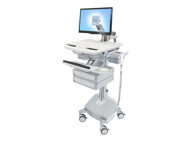 Ergotron StyleView Cart with LCD Arm, LiFe Powered, 2 Drawers, SV44-1222-1