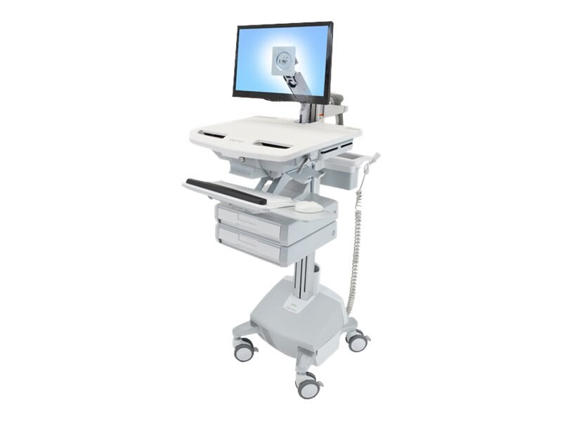 Ergotron StyleView Cart with LCD Arm, LiFe Powered, 2 Drawers, SV44-1222-1, 18024908, Computer Carts - Medical